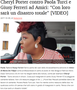 Cheryl Porter contro Giusy Ferreri già nel 2017